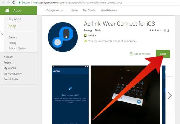 Install the Smart Watch app Aerlink