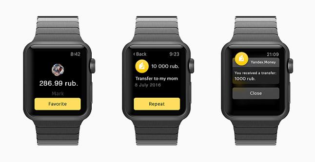 Появилось приложение Яндекс.Денег для Apple Watch