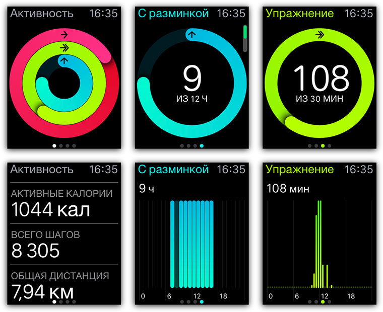 Приложение Активность в Apple Watch