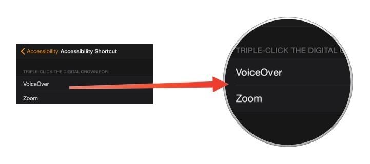 Как отключить опцию Voice Over на iWatch?