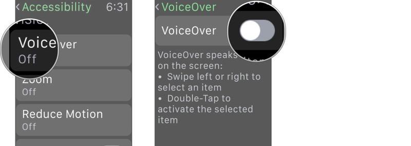 Как отключить функцию Voice Over на Apple Watch?