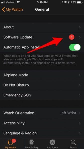 Обновление WatchOS на Apple Watch - шаг 4