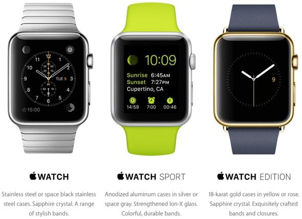 3 модели смарт-часов iWatch