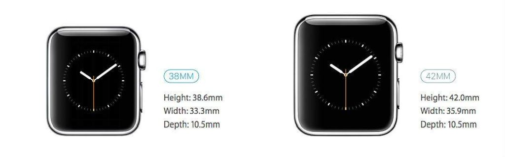 Comparison of Apple Watch 38 mm and 42 mm