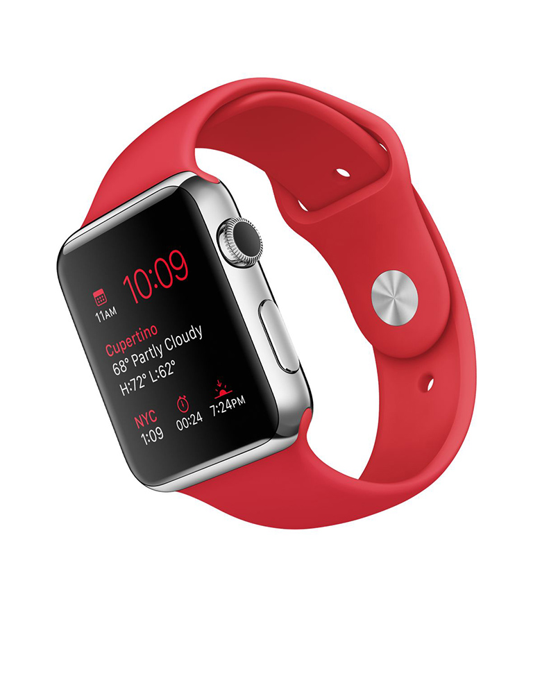 Умные часы APPLE Watch 42mm with Red Sport Band MLLE2RU/A