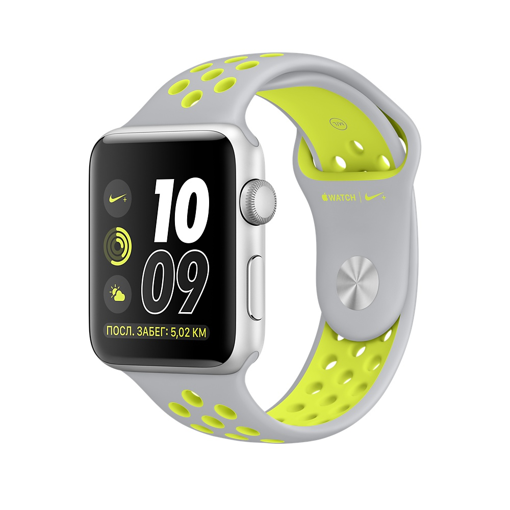 Умные часы APPLE Watch Nike+ 38mm Silver Aluminium Case with Flat Silver-Volt Nike Sport Band MNYP2RU/A