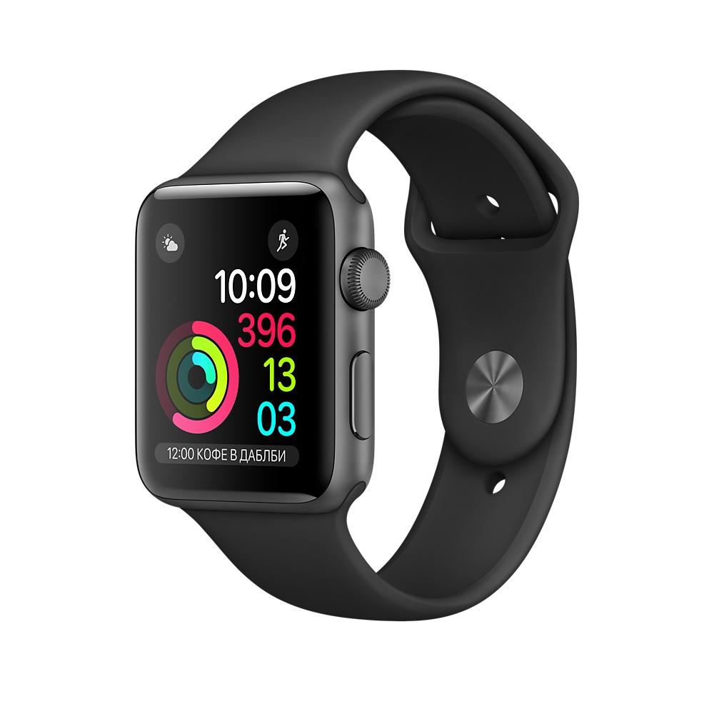 Умные часы APPLE Watch Series 2 38mm Space Grey Aluminium Case with Black Sport Band MP0D2RU/A MP0D2RU/A