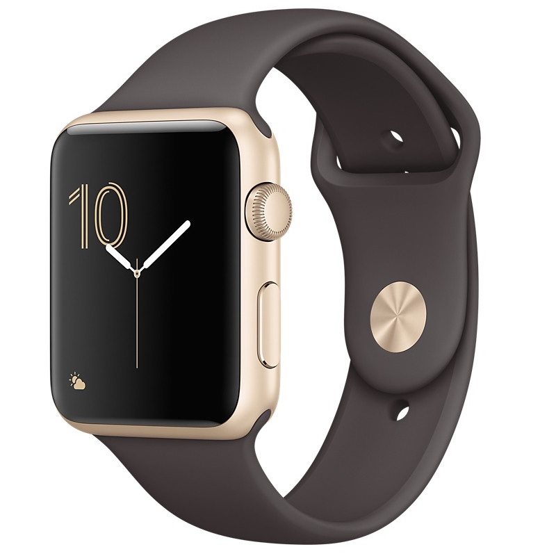 Умные часы APPLE Watch Series 2 42mm Gold with Dark Cocoa Sport Band MNPN2RU/A MNPN2RU/A