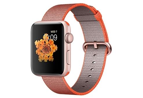 Apple Watch Series 2,  42 мм, корпус из алюминия цвета «розовое золото», ремешок из плетёного нейлона цвета «оранжевый космос/антрацит» MNPM2RU/A