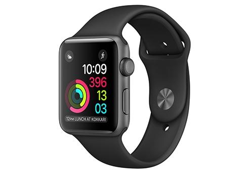 Apple Watch Series 2,  42 мм, корпус из алюминия цвета «серый космос», спортивный ремешок чёрного цвета MP062RU/A
