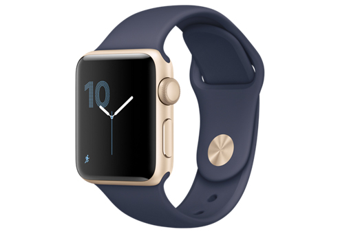 Apple Watch Series 1,  38 мм, корпус из золотистого алюминия, спортивный ремешок тёмно??синего цвета MQ102RU/A
