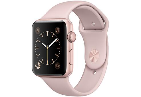 Apple Watch Series 2,  42 мм, корпус из алюминия цвета «розовое золото», спортивный ремешок цвета «розовый песок» MQ142RU/A