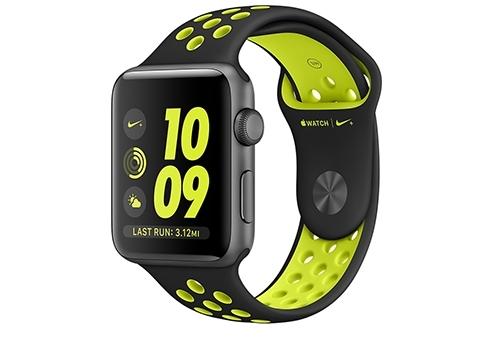 Apple Watch Nike+ 42 мм, корпус из алюминия цвета «серый космос», спортивный ремешок Nike цвета «чёрный/салатовый» MP0A2RU/A
