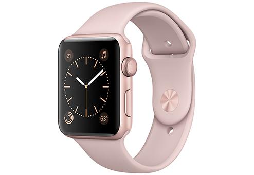 Apple Watch Series 1,  42 мм, корпус из алюминия цвета «розовое золото», спортивный ремешок цвета «розовый песок» MQ112RU/A