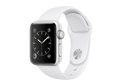 Apple Watch Series 2,  38 мм, корпус из серебристого алюминия, спортивный ремешок белого цвета MNNW2RU/A