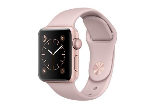 Apple Watch Series 2,  38 мм, корпус из алюминия цвета «розовое золото», спортивный ремешок цвета «розовый песок» MNNY2RU/A