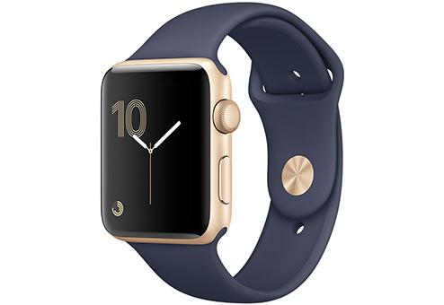 Apple Watch Series 2,  42 мм, корпус из золотистого алюминия, спортивный ремешок тёмно??синего цвета MQ152RU/A