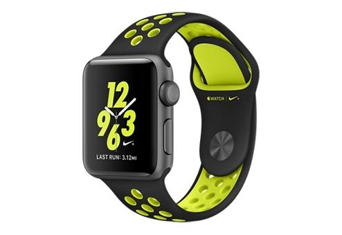 Apple Watch Nike+ 38 мм, корпус из алюминия цвета «серый космос», спортивный ремешок Nike цвета «чёрный/салатовый» MP082RU/A