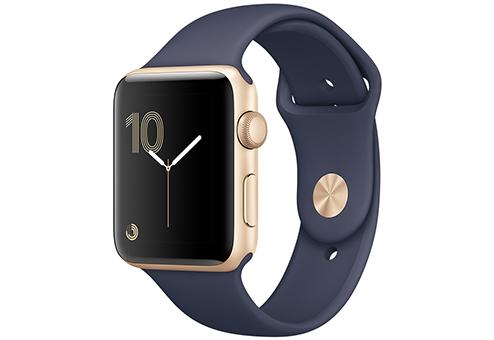 Apple Watch Series 1,  42 мм, корпус из золотистого алюминия, спортивный ремешок тёмно??синего цвета MQ122RU/A
