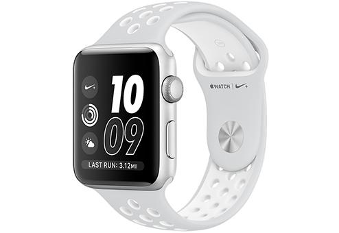 Apple Watch Nike+ 42 мм, корпус из серебристого алюминия, спортивный ремешок Nike цвета «чистая платина/белый» MQ192RU/A