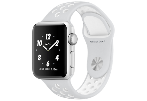 Apple Watch Nike+ 38 мм, корпус из серебристого алюминия, спортивный ремешок Nike цвета «чистая платина/белый» MQ172RU/A