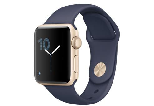 Apple Watch Series 2,  38 мм, корпус из золотистого алюминия, спортивный ремешок тёмно??синего цвета MQ132RU/A