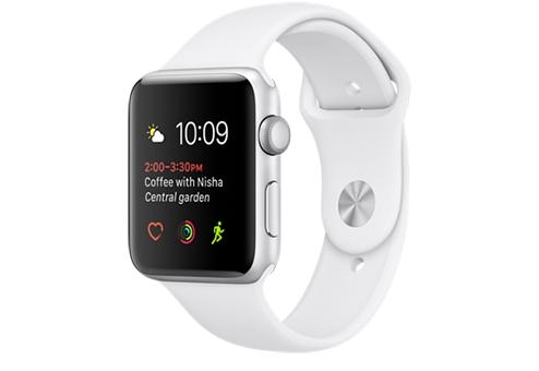 Apple Watch Series 2,  42 мм, корпус из серебристого алюминия, спортивный ремешок белого цвета MNPJ2RU/A