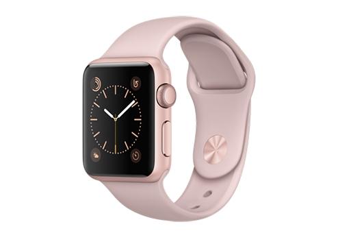 Apple Watch Series 1,  38 мм, корпус из алюминия цвета «розовое золото», спортивный ремешок цвета «розовый песок» MNNH2RU/A