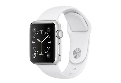 Apple Watch Series 1,  38 мм, корпус из серебристого алюминия, спортивный ремешок белого цвета MNNG2RU/A