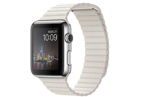 Apple Watch 42 мм, нержавеющая сталь, кожаный ремешок белого цвета 180–210 мм MMFW2RU/A