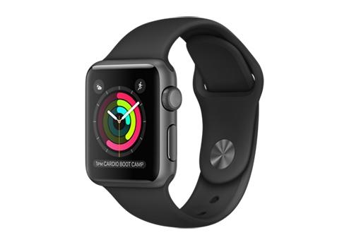 Apple Watch Series 1,  38 мм, корпус из алюминия цвета «серый космос», спортивный ремешок чёрного цвета MP022RU/A