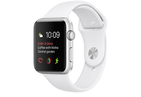 Apple Watch Series 1,  42 мм, корпус из серебристого алюминия, спортивный ремешок белого цвета MNNL2RU/A