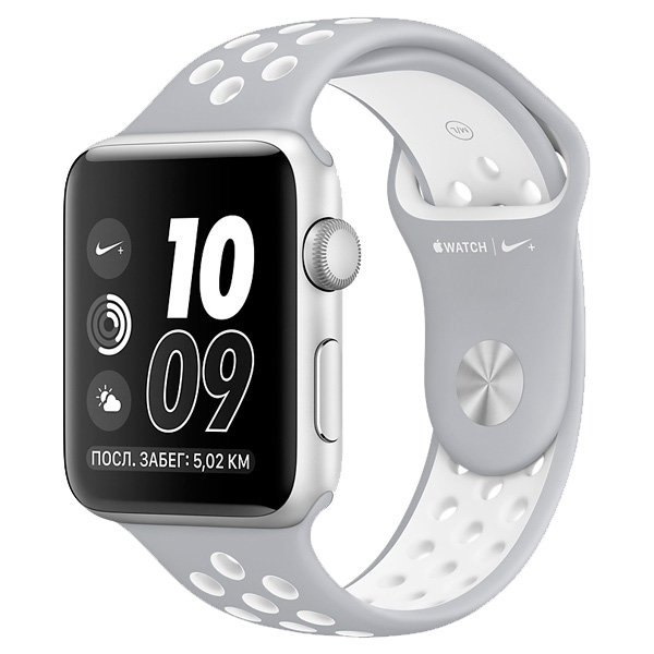 Умные часы APPLE Watch Nike+ 38mm Silver Aluminium Case with Flat Silver-White Nike Sport Band MNNQ2RU/A Watch Nike+