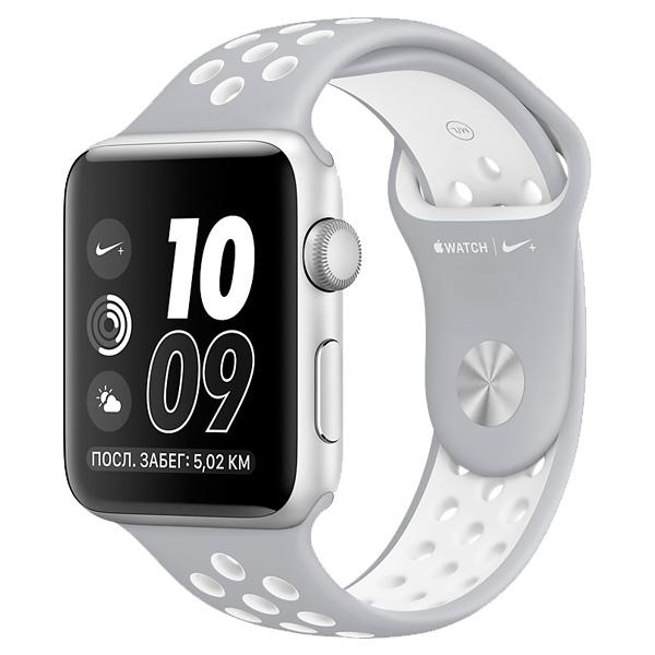 Умные часы APPLE Watch Nike+ 38mm Silver Aluminium Case with Flat Silver-White Nike Sport Band MNNQ2RU/A Watch Nike+