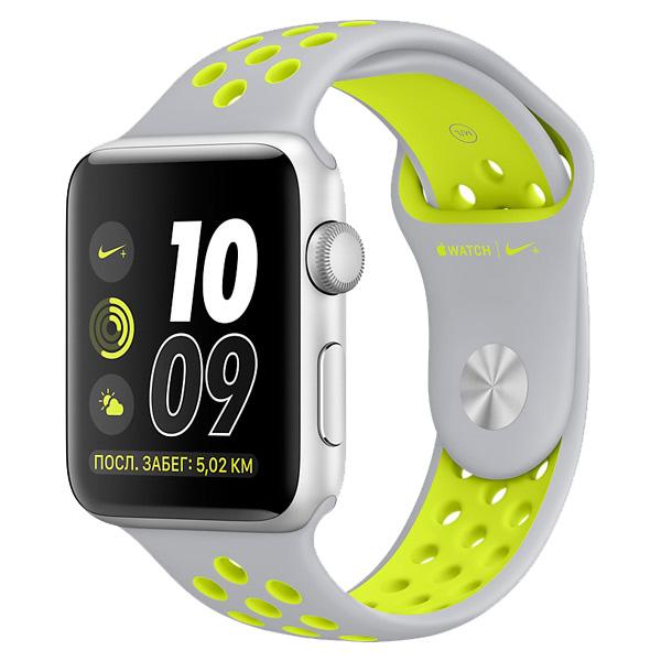 Умные часы APPLE Watch Nike+ 42mm Silver Aluminium Case with Flat Silver-Volt Nike Sport Band MNYQ2RU/A Watch Nike+
