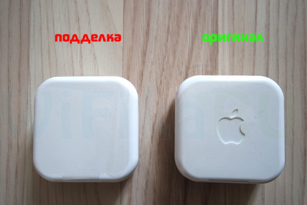 Логотип на упаковке подлинных Apple Airpods