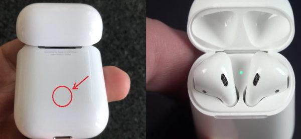 Кнопка и индикатор включения AirPods
