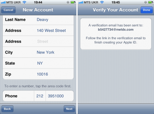 Создание Apple ID - личные данные