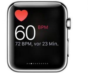 Показатели пульса на дисплее Apple Watch