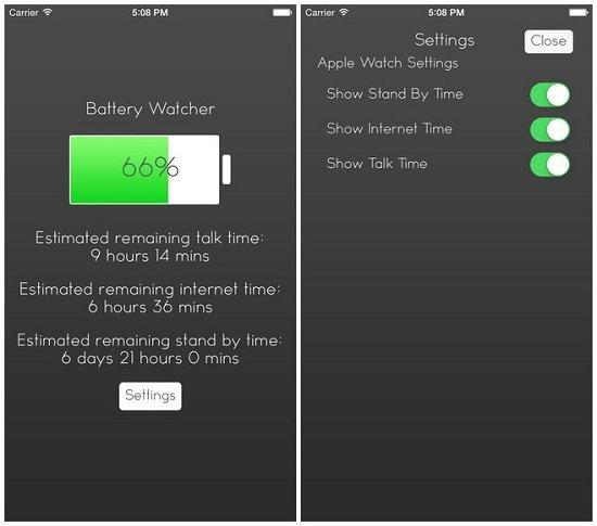 Настройки в приложении Battery Watcher