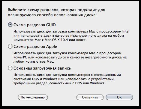 Опция «Схема разделов GUID»