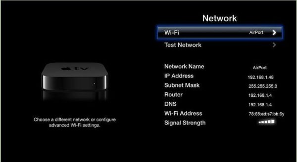 Подключение Apple TV к Wi-Fi