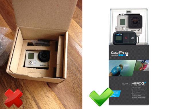 Упаковка оригинального и поддельного GoPro