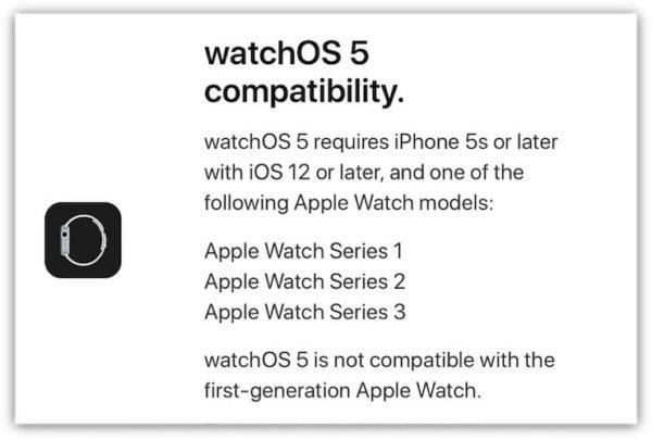 Совместимость WatchOS 5