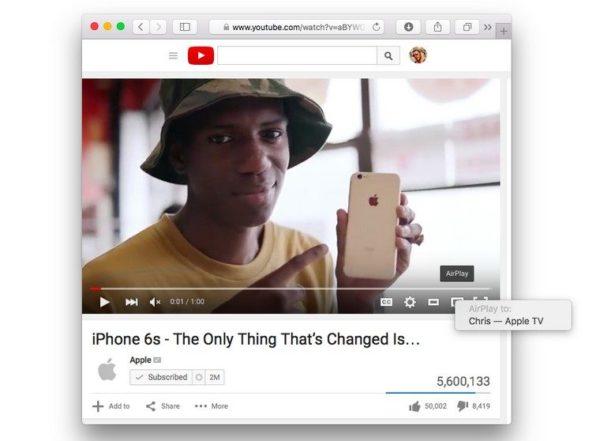 Вывод изображения на Apple TV через Safari