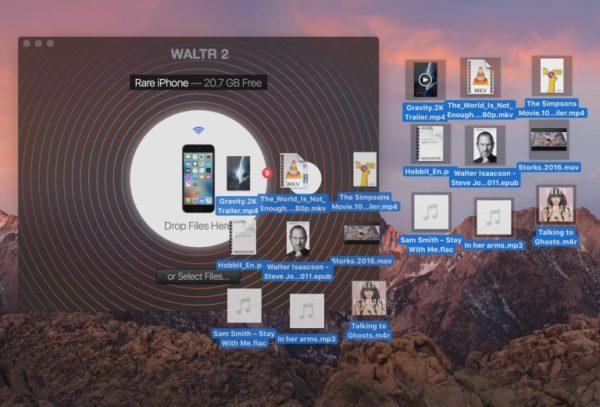 Перетаскивание файлов в окно приложения Waltr