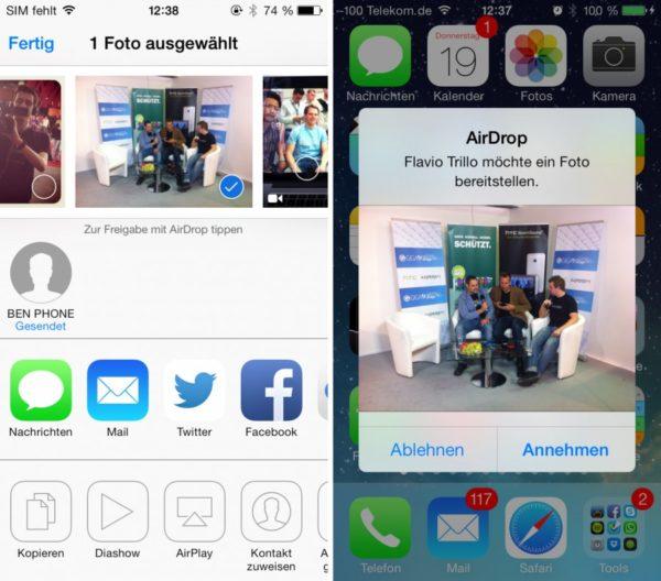 Передача файлов между девайсами Apple через Airdrop