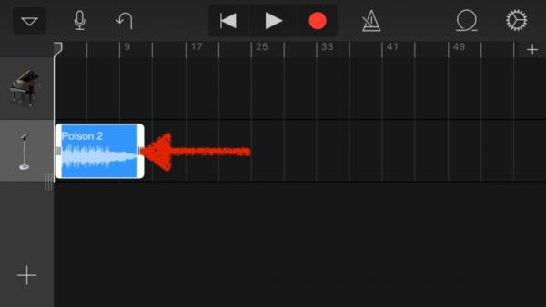 Обрезка мелодии в GarageBand