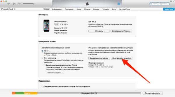 Восстановление фото наiPhoneчерез iTunes