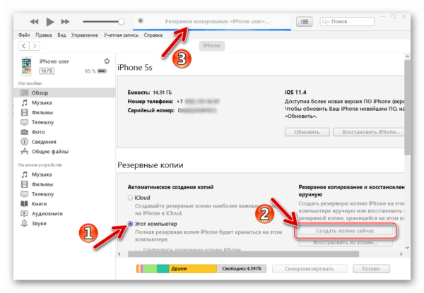 Создание резервной копии iPhone и iPad через iTunes